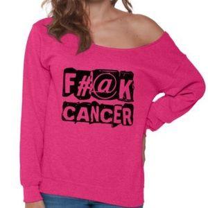 51265923b2 Tops - Fuck Cancer Off Shoulder Sweatshirt - Sz Sm